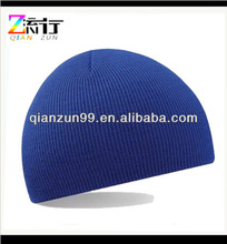 Blank Royal Blue Knitted Beanie Hat Cap Headwear