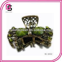 Green Bow Metallic hair Claw Clip