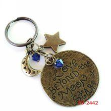 TS-2442 Love Beyond The Moon And Stars Keychain star shaped keychain Bag Charm Keyring Yoga Accessories Metal Keychain
