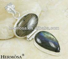 Labradorite Pendant Oval Teardrop Style 925 Sterling Silver Jewelry H314