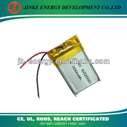 High Discharge Rate 3.7V 602030 300mAh Rechargeable Lithium Polymer Battery, Li-ion Polymer Battery for Airplanes, RC Helicopter