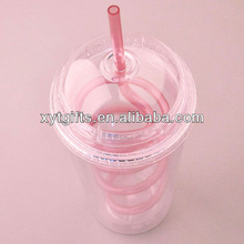 480ml(16 Oz) PS 3d Plastic Straw Cup FOR Drink