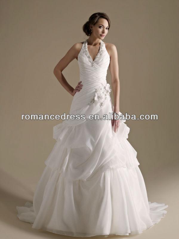 KW0004 Sparkly Flowers Halter Neckline Cross Back Long Train Ball Gown Wedding Dresses