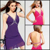 Girls Party Dress Spaghetti Straps Above Knee Red And Purple Hot Deep V-neck Chiffon Cocktail Dress C149