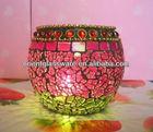 Hi-Q inlay agates embellishes mosaic glass candle holder