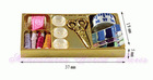 HM33 - Gold metal display with Sewing accessories miniature