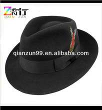 black wool blend fedora hat headwear with feather and band