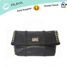 Good Price Womens Black Genuine Leather Bag with PU leather & gold studs trim / Foldable Bag / Carry Bag / Handbag -HB-008