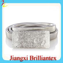 de plata de moda broche de textura furtivo de baile de metal del cinturón de diamantes de imitación de cristal para la correa vestido de novia
