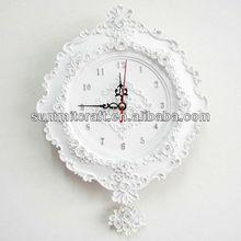 custom polyresin white baroque decorative wall clock