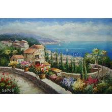 Handmade beautiful Mediterranean oil painting impressionist garden sailing boats landscape art on canvas