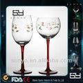 Colorido soprado de vidro pintado vinho/taças
