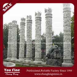 High stone carving zodiac animals decorative square columns