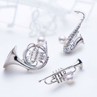 wind french art musical instrument necklace diamond pearl