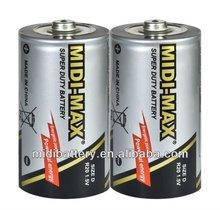 super power PVC jacket R20 D size UM-1 Zinc-Carbon battery dry cell