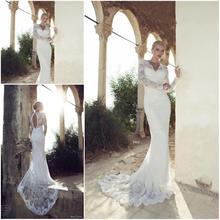 Sexy V-neck Keyhole Back Simple Long Sleeves Lace Wedding Dresses 2013