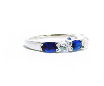 GWR 61 Sterling Silver 925 Oval Blue Sapphire Gemstone Ring
