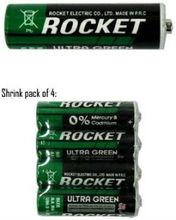 Rocket AA Ultra Green Heavy Duty Dry Batteries - 4 Pack