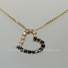 UsedJewelry / K18 Yellow gold / Open heart Sapphire Necklace / Diamond / From Japan ( 1003020501c00133 )