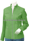 Parrot Green & zipper pockets,New Design 2013 Womens Leather Jacket
