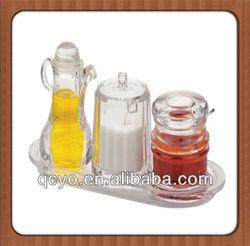 3pcs/set condiment sets glass cruets with acrylic tray