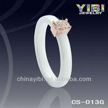 2012 New White Ceramic Ring with Crystal Inlaid, Women's ring, Ceramic Wedding Ring