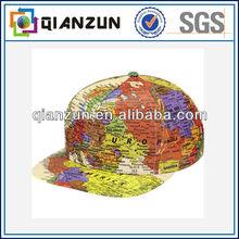 Whole sale custom print word map snapback hat
