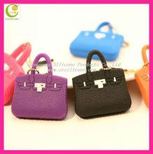 Welcome OEM 2d/3d design mini bag shape silicone rubber 3.5 jack dust plug cap for mobile phone