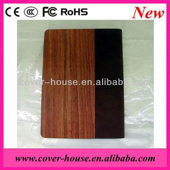 Leather Wood Book Case for iPad Mini, Wood cover case with leather for iPad Mini