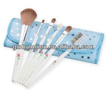 Blue Flower Makeup Brush Set 6 Pieces Mini Make Up Brush Set Makeup Bag