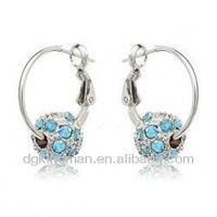 Kingman 2013 White Gold Hoop Earrings- Stiking With Bule Crystal Ball