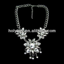 Luxury crystal flower pendant necklace,V shaped chunky chain necklace, Crystal flower necklace large