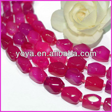 AB0184 Rose pink faceted agate nugget beads,irregular freeform beads