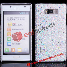 For LG Cell Phone Case! #LGP705-3002I#Glitter Shiny Hard Cell Phone Case for LG Optimus L7 P705(Silver)