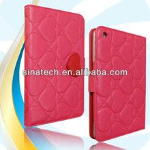 Cute leather book case for iPad mini 2,for new mini ipad 2 case ,2013