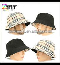 Bucket beige check fedora cap hat sun shade visor way crusher unisex