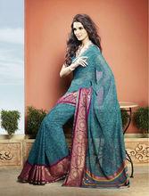 Latest Pink Border Colour Designer Printed Saree