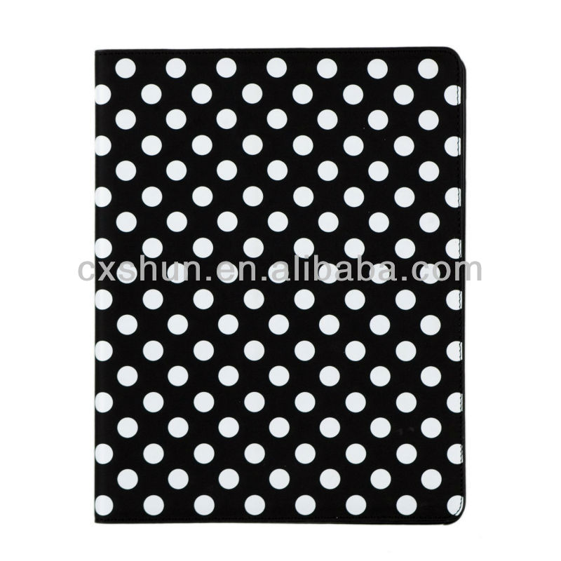 Black and White Polka Dot Pattern PU Leather Case For iPad mini