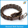"Beyond Ladies' 1"" Wide Brown Single Layer Full Grain Cowhide Real Leather Braided Belt"