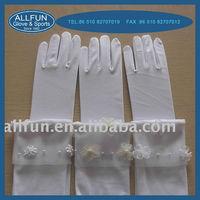 2013 fashion new design pretty lovely cute ladies long white satin gloves