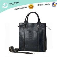 Calf Leather Mens Tote Bag Leather Black Handbag 100% leather Shoulder Bag with detachable strap Casual or Formal Bag-HB-047