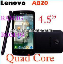 NEW 4.5inch Lenovo A820 IPS Screen Smartphone MTK6589 Quad Core 1.2Ghz 1GB RAM 4GB ROM Dual SIM Camera 8.0MP