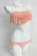 Fantastic Pink Lined Tassel Bikini Swimwear