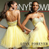 Sexy Model Beaded Sweetheart Knee Length Organza Yellow Cocktail Dress