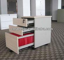 beige mobile 3 drawer pedestal cabinet wood/under desk file cabinet with wheels/mobile small cabinet under office computer table