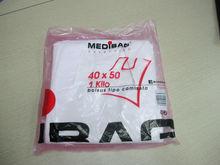 Plastic bag HDPE tshirt on block