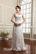 Elegance noble handmade yellow little daisy flower lace floor length mermaid wedding dresses 2015 wedding dress