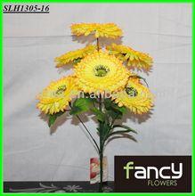 home&wedding decoration, 7 heads yellow artificial wild zebra daisy flower bush making