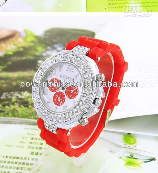 14 Colors! Soft Silicone Classic Gel Crystal Wrist Watch Quartz Lady Women Girls