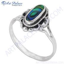 Glamours Ethnic Designer 925 Sterling Silver Jewelry, Abalone Gemstone Silver Designer Ring